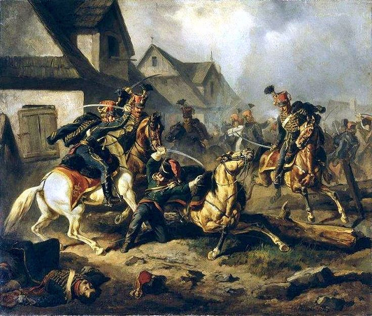 Death of Berek Joselewicz. Fig. H. Pillati.  Dow Baer (Berek) Joselewicz (b. September 17, 1764 in Kretynga, d. 5 or 8 May 1809 Kock) - Polish Jewish merchant, colonel of the Polish army, an officer of the Polish Legions in Italy. In the Duchy of Warsaw army commanded a squadron. He was killed during clashes with the Austrians at Kock in 1809, today his grave is a monument and tourist attraction.