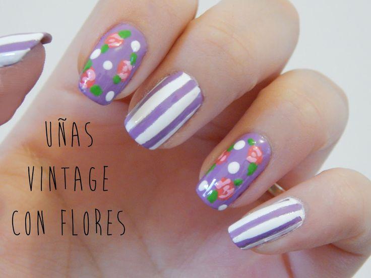 uñas vintage con flores