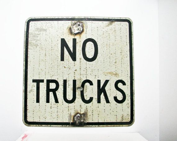 Vintage No Trucks Sign  Black and White Street Sign   by BeeJayKay.etsy.com #Industrial #VintageSign #VintageAndMain