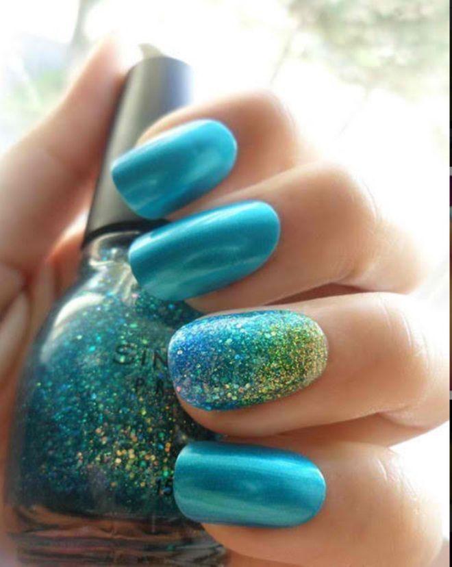 Peacock Nails | 17 Gorgeous Blue Nails Art