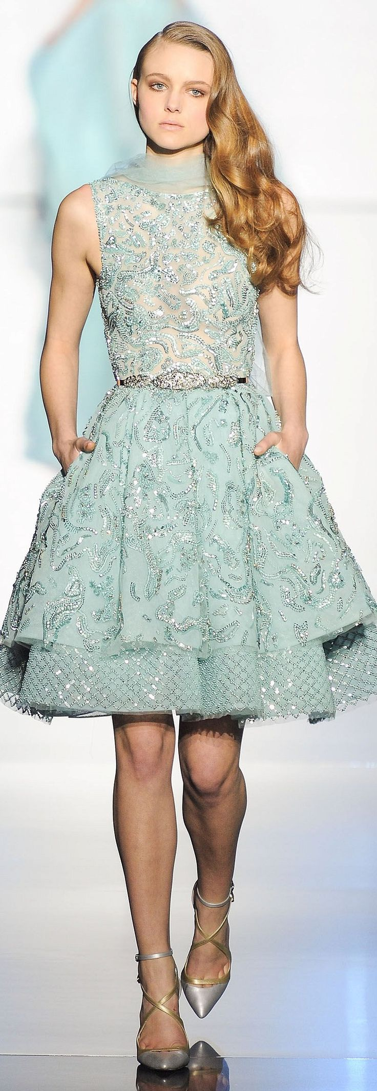 Zuhair Murad ~ Couture Spring Sequin+Embroidered Midi Cocktail Dress, Aqua 2015