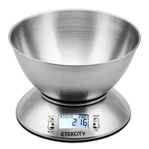 Etekcity 5kg/ 11lb LCD Bilancia Da Cucina con la funziona di Timer Allarme e Sensore Temperatura, Bianco Retroilluminato, Ciotola in acciaio inossidabile e staccabile, Acciaio inossidabile, colore Argento  SCONTO 55% Valido per il 17 Novembre 2016