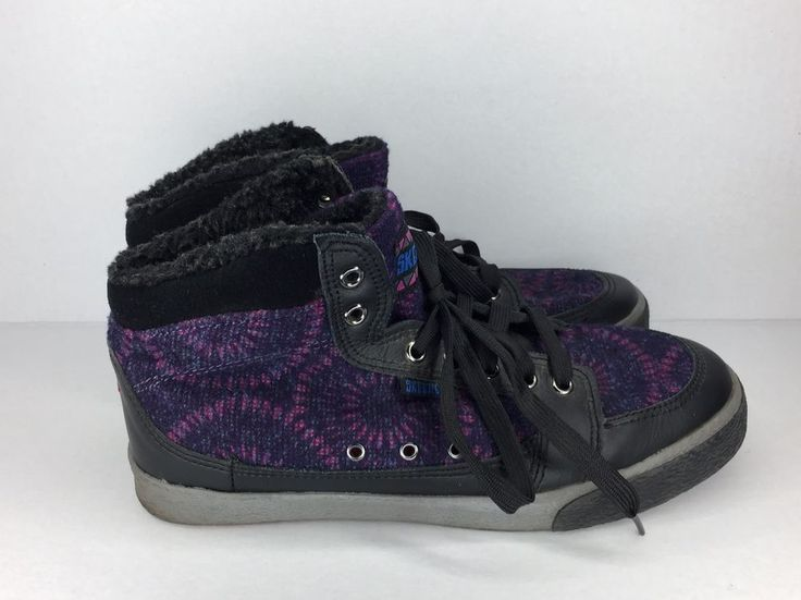 Skechers Black And Purple Hightop Shoes Size 7 Women's   | eBay