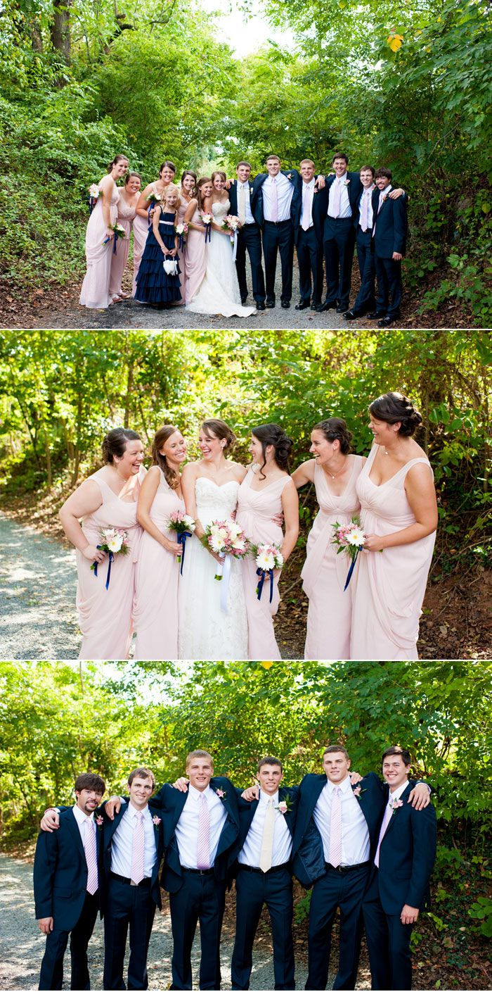 Navy Blue and Pink Wedding (love this, but with a little bit darkers pink)