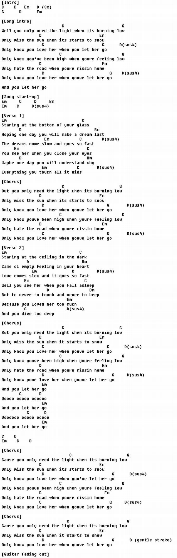 Let her go - Passenger : guitar Chords : Pinterest : Let her go