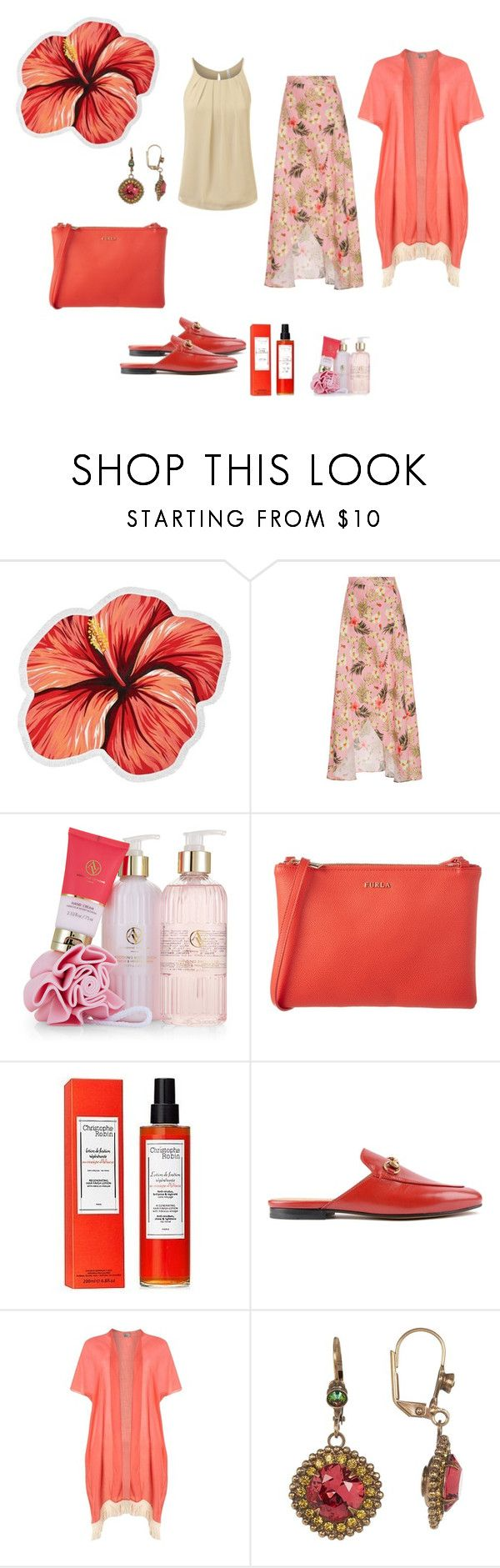 """""""Hibiscus"""" by chauert ❤ liked on Polyvore featuring LaMont, Miguelina, Adrienne Vittadini, Furla, Christophe Robin, Gucci, Dorothy Perkins and Sorrelli"""