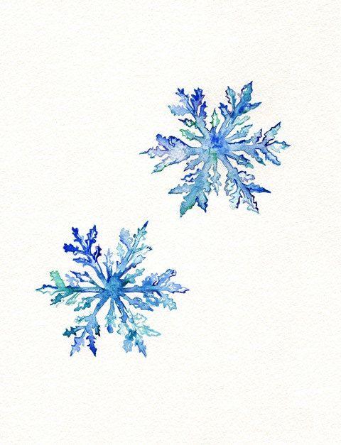 Snowflakes / watercolor print / teal by kellybermudez, $19.00