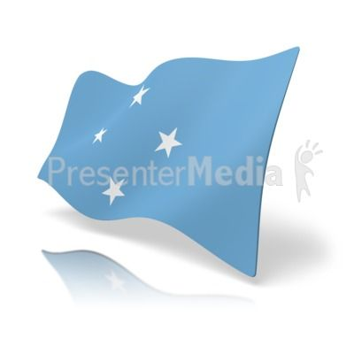 This clip art image shows the Micronesia flag at a perspective angle. #powerpoint #clipart #illustrations