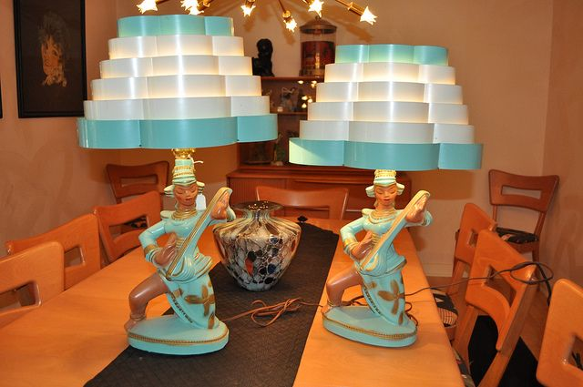 Continental Art Co  Table Lamps Chalkware Design