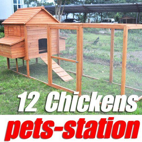 HUGE! 3.65M LONG! Chicken Coop Hen House Hutch Cage Rabbit Hutch
