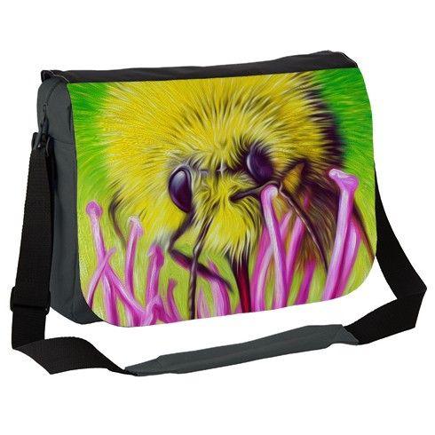 Bee and Flower Nectar Messenger Bag by simon-knott-fine-artist at zippi.co.uk