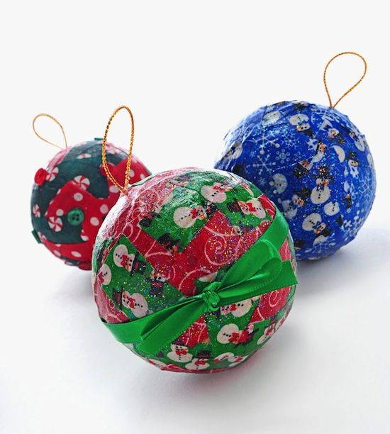 Mod Podge fabric Christmas ornaments - a great kids' craft idea