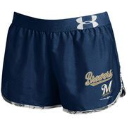 Milwaukee Brewers Under Armour Women's Tied Up Performance Running Shorts - Navy