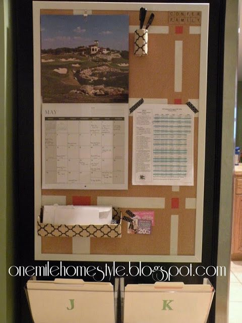 Finally! A comnmand center that is inexpensive and easy to make. And it fits on the side the fridge!! | Kitchen Command Center - One Mile Home Style