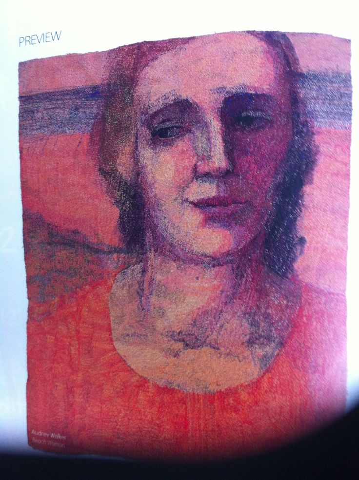 Stitched portrait by Audrey Walker