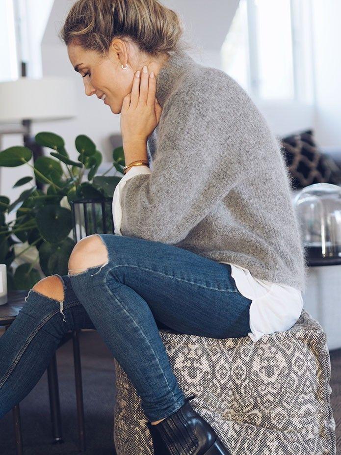 grey knit turtleneck