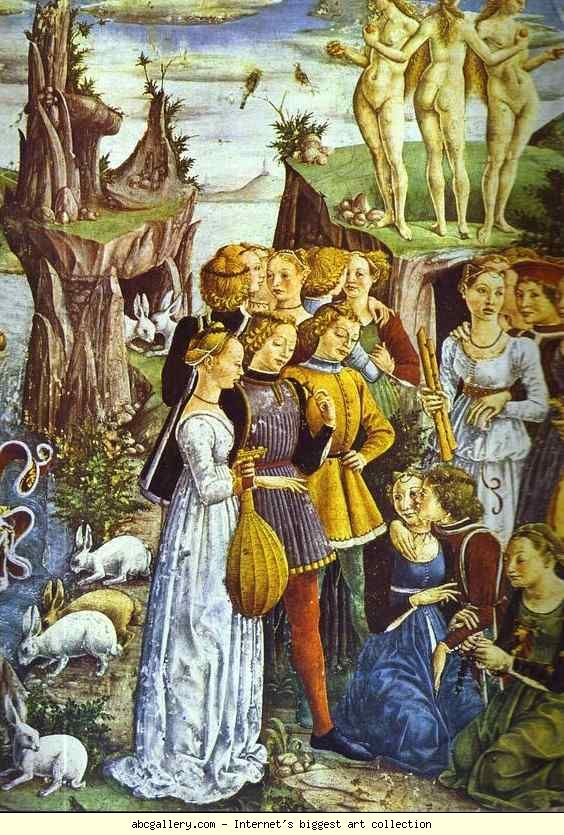 """Francesco del Cossa. Triumph of Venus. Detail from """"April"""" from the Cycle of the Months. 1470s. Fresco. Palazzo Schifanoia, Ferrara. Italy"""