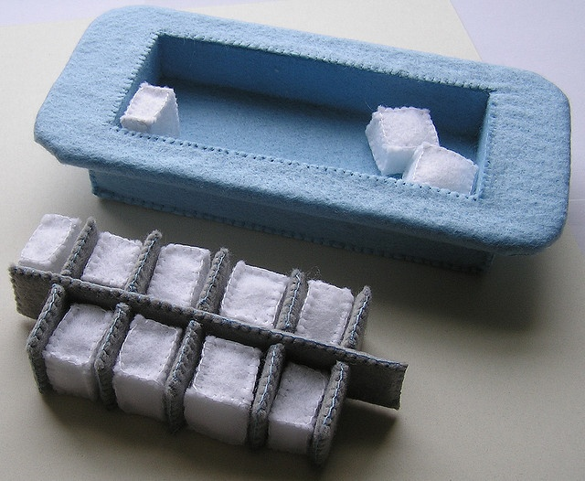 felt ice cube tray with ice cubes