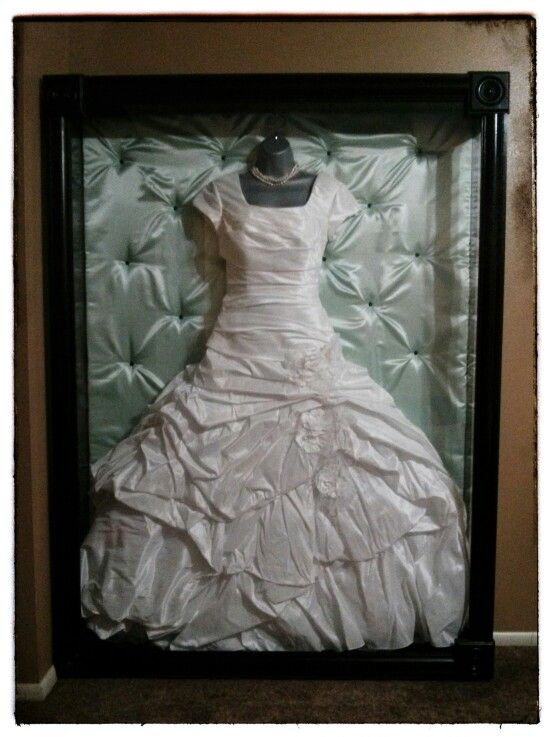 shadow box display for wedding gown october wedding