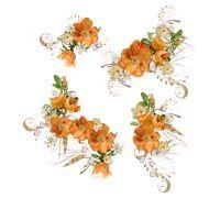 Lenagold - Клипарт - Оранжевые цветы 2