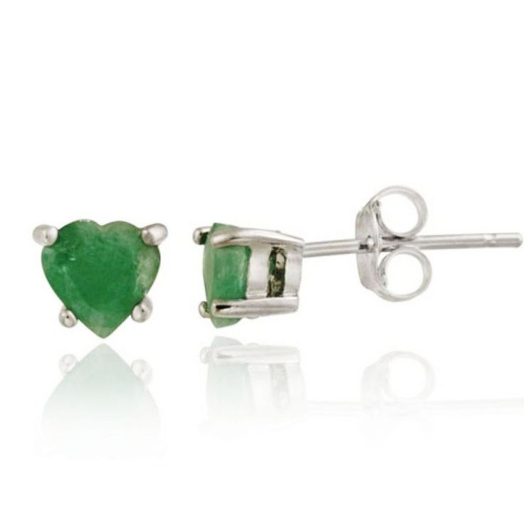 Gem Type: NATURAL UNTREATED Emerald. Metal Finish: 14k White Gold. Metal: 925 Sterling silver. Stone Weight: 1.00 carat. Total Gemstone Weight: 2/1.00 carat. Width: 5mm. Length: 5mm. | eBay!