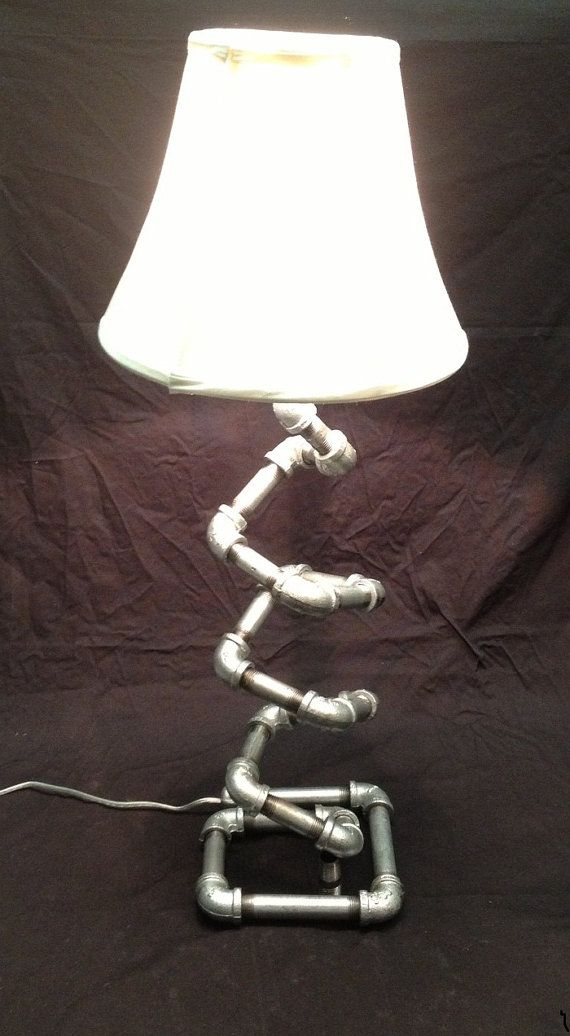 Table Lamp - Free Standing - Handmade - Unique Design - Galvanized Pipe - Free Shipping on Etsy, $149.00