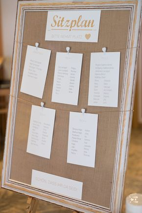Ein toller Sitzplan zur Hochzeit im Vintage-Stil. Dieser DIY-Sitzplan im Bilderrahmen lässt sich toll nachbasteln! Foto: Jennifer & Thorsten Photography