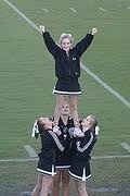 The above picture shoes a what may look like a hard cheerleading stunt, but it is actually one of the basic off all the possible cheerleading stunt. To achieve a half thought still takes some effort, because if the stunt isnt performed properly cheerleaders can easilly get hurt, A flyer needs balance, and trust. Also confidence in themselves because the crowd looks at the flyer not the bases.  underneath. The bases also need to be in sync and know their counts.