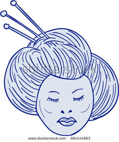 Drawing sketch style illustration of head of Geisha, geiko or geigi girl, traditional Japanese female entertainer who act as hostesses viewed from front set on isolated white background.   #geisha #drawing #illustration