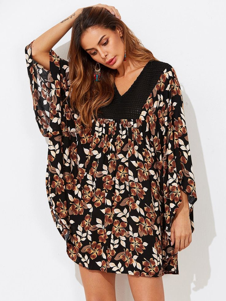 Crochet Yoke Flower Print Batwing Dress