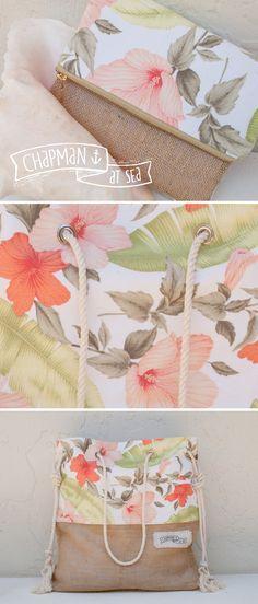 Vintage Tropical Fabric, Clutch & Beach Bag chapman at sea . com