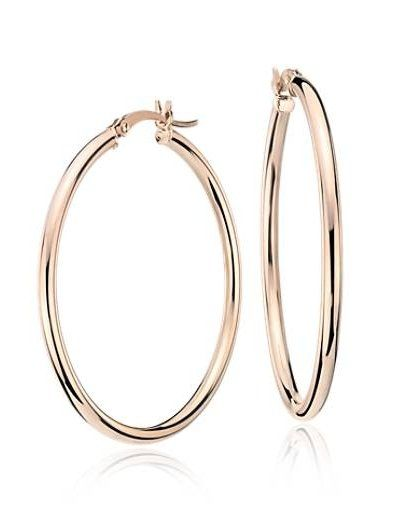 Blue Nile Medium Hoop Earring in 14k Rose Gold (1 3/8) MFWjGDFw9