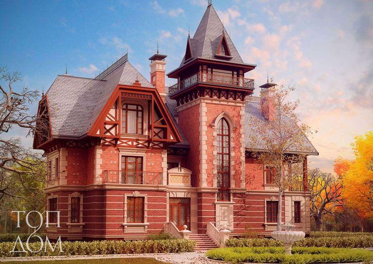 Дом из красного и белого кирпича с отделкой коваными элементами и деревом