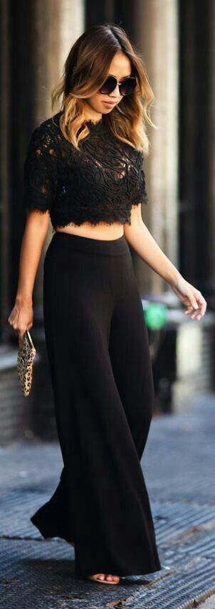 Women's fashion | Black lace crop top with high waisted trousers
