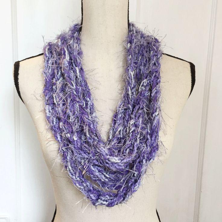Shades of purple, eyelash yarn, infinity scarf, handmade FREE SHIPPING by PowersMod on Etsy