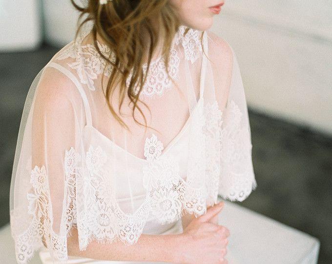 Encubrir novia Cape, capa nupcial, nupcial, novia se separa, cabo, cabo de los cordón, cordón nupcial Capelet, cabo boda