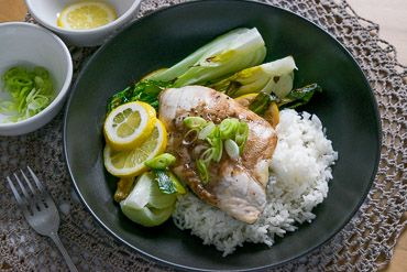 Roasted Fish with Spring Onion & Ginger, Bok Choy and Jasmine Rice   You Plate It