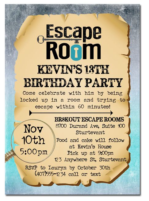 211 best kids birthday party invitations images on for Escape room party