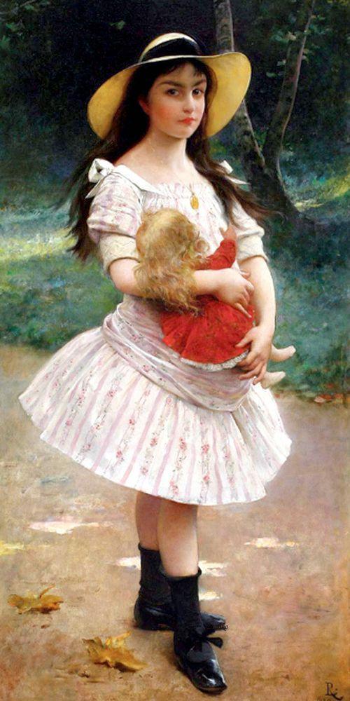 Эта подборка лишь малая толика той коллекции картин с изображением девочек с куклой, которая у меня есть. Со временем это собирательство превратилось, практически, в манию. Среди разных тем есть несколько особенно любимых. Коллекция «Девочка с куклой» одна из самых-самых. В этой подборке представлены портреты очаровательных девчушек. Мне очень нравится одна из цитат Виктора Гюго, которая очень точно передает особенности этой подборки.