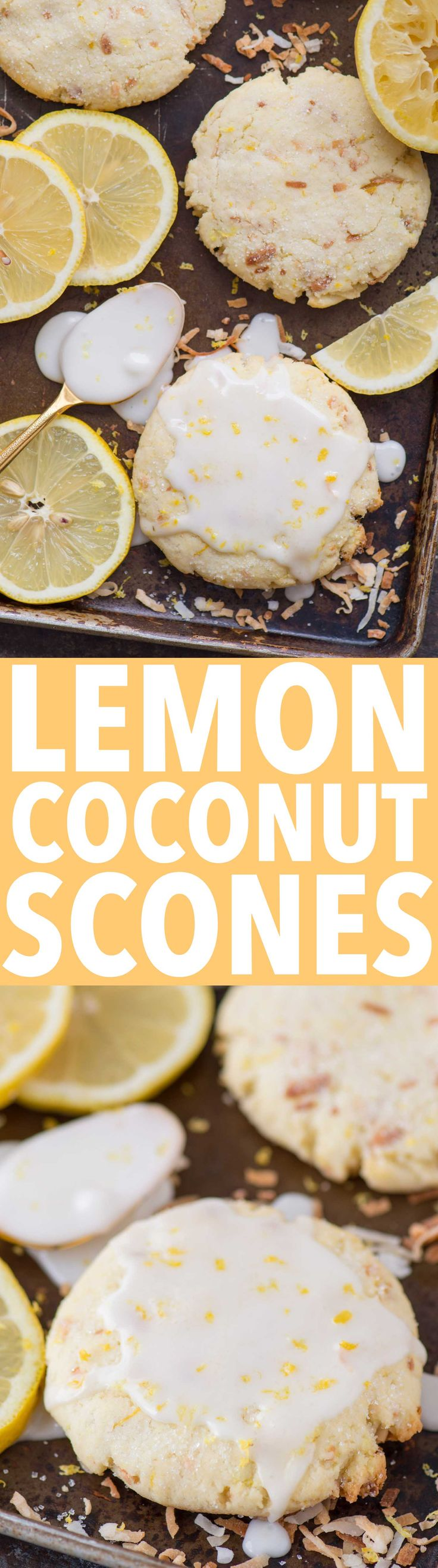 TOASTED COCONUT LEMON SCONES - sweet lemon citrus scones with toasted coconut mixed in! These are some of the BEST scones I've ever had!
