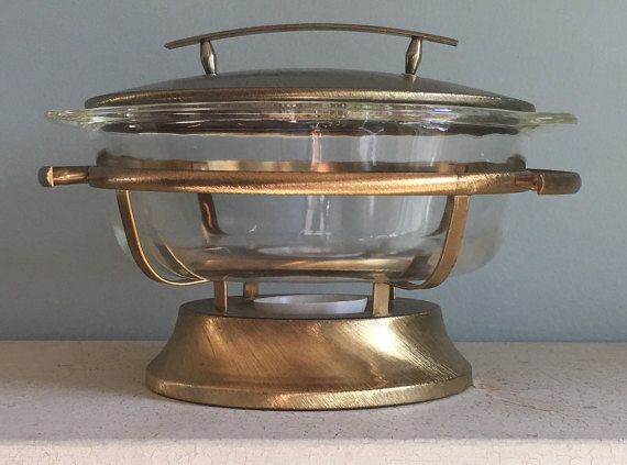 Chafing Dish - Gold Chafing Dish - Fire King Anchor Hocking - Mid Century Modern Chafing Dish - Covered Casserole - MCM Serving Dish