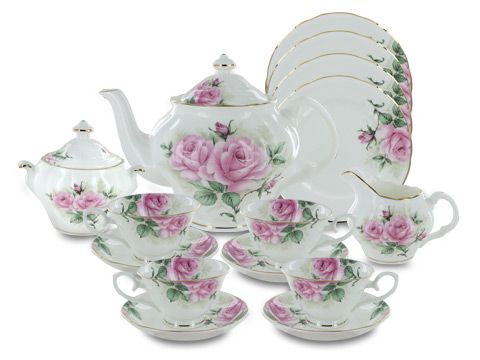 """I'm not generally into """"girly"""" china patterns, but this is just gorgeous. Rose Bouquet Bone China http://www.englishteastore.com/fine-bone-china.html"""