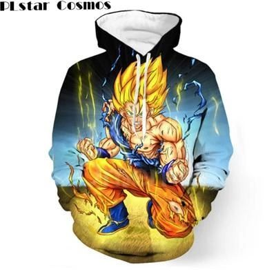 Dragon Ball Z DBZ Pocket Hooded Sweatshirts 3D Super Saiyan Heromodlilj