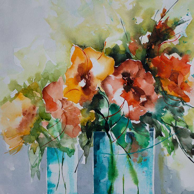 Les Indes Galantes (Peinture),  30x30 cm par Véronique Piaser-Moyen Aquarelle originale sur papier 300 G