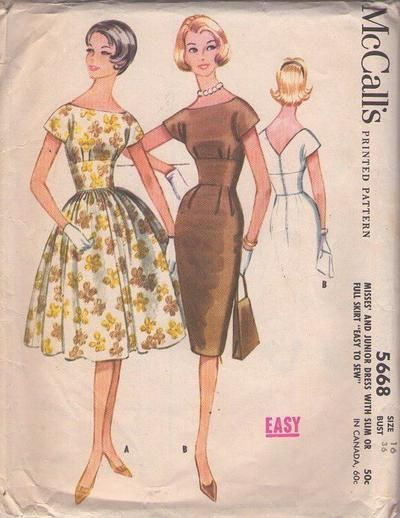 MOMSPatterns Vintage Sewing Patterns - McCall's 5668 Vintage 60's Sewing Pattern VA VA VOOM Voracious Mad Men Wide Cinched Midriff Bateau Ne...