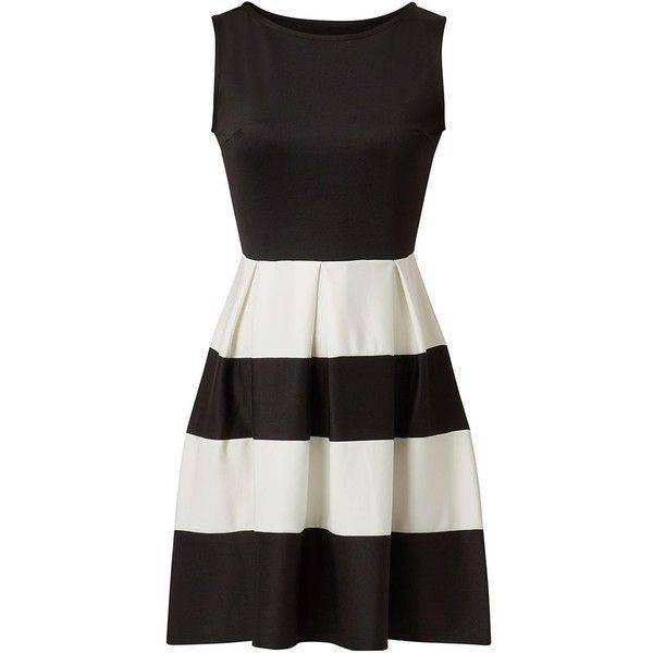 NEW Cameo Rose Monochrome Scuba Striped Skater Dress Black White ASOS 8 to 16