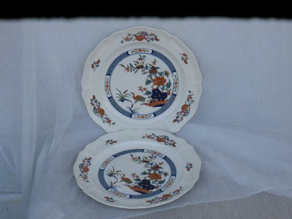 2 Wedgwood Chinese Teal Dinner Plates Vintage $19.99