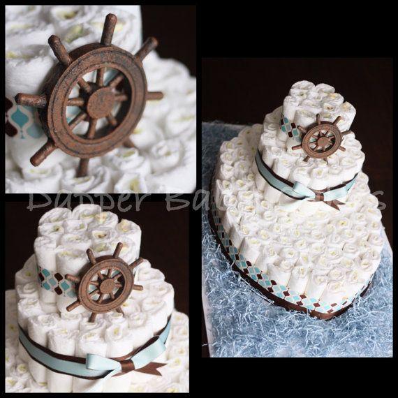 Boat diaper cake by Dapperbabycakes on Etsy