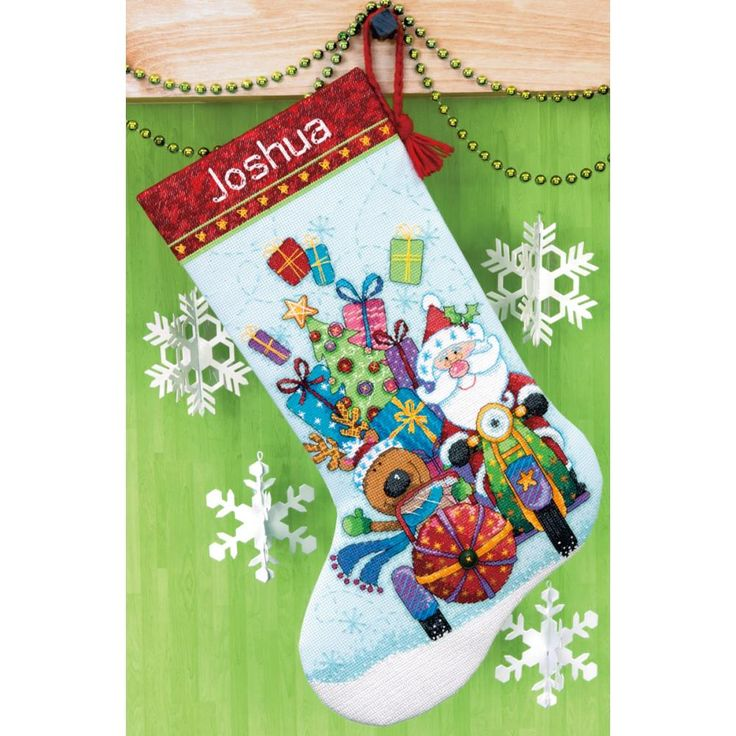 """Santa's Sidecar Stocking Counted Cross Stitch Kit-16"""" Long 14 Count"""