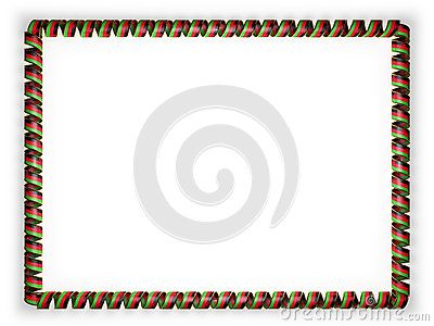 Frame and border of ribbon with the Malawi flag, edging from the golden rope. 3d illustration.